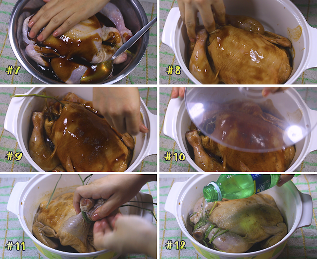 Marinating the chicken to roast.