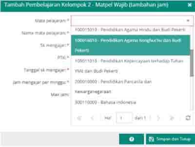 Kelompok 2 - Mata Pelajaran Wajib (KTSP max 4 jam, K13 max 2 jam)