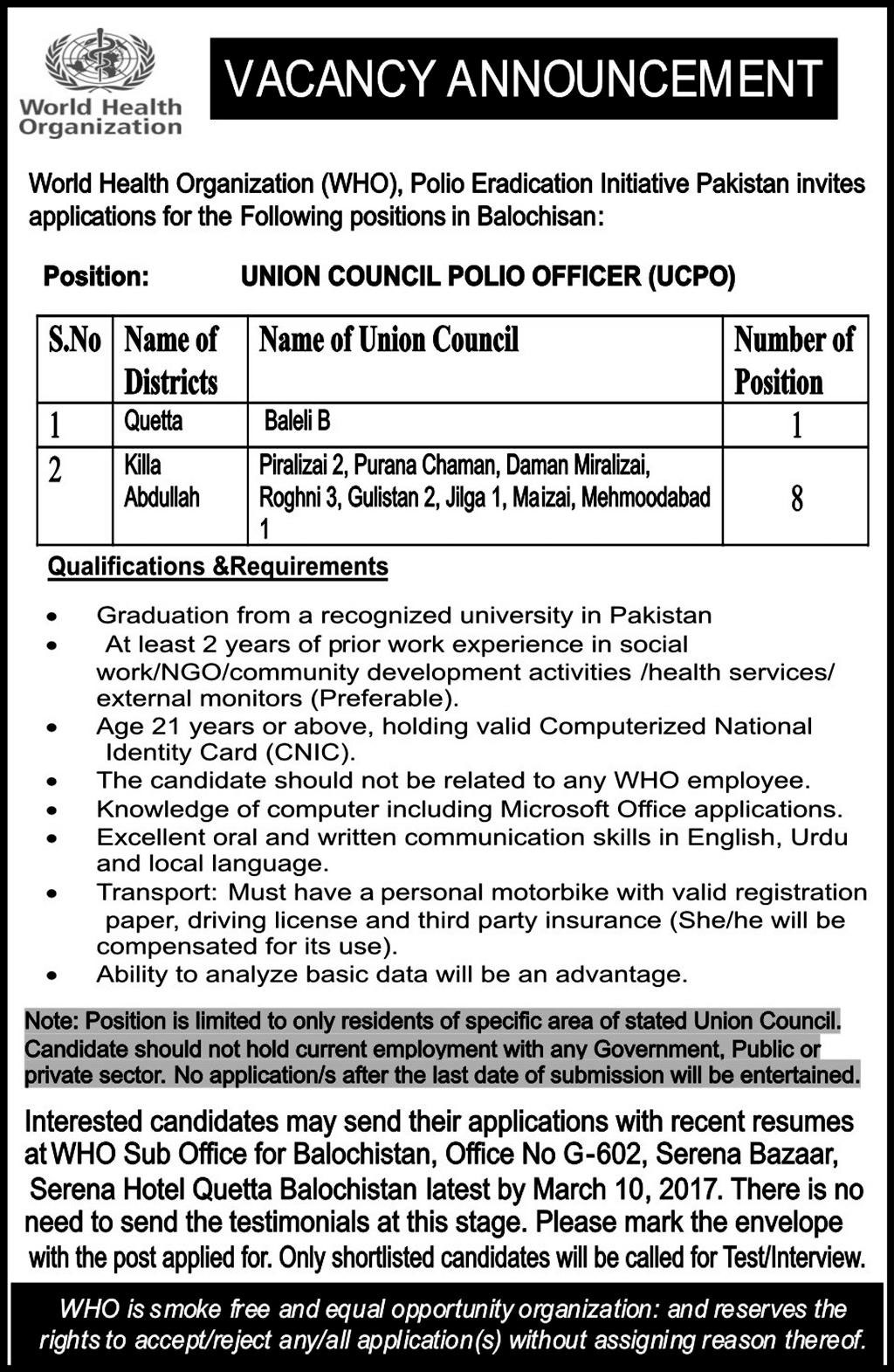 Jobs in World Health Organization Jobs 2017
