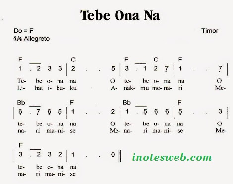 kunci gitar, not angka arti dan lirik lagu tebe o nana