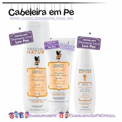 Linha Precious Nature Oil Amêndoa e Pistache - Alfaparf (Shampoo e Leave in liberados para Low Poo - Condicionador liberado para No Poo e cowash)
