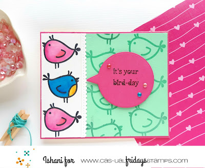 Little birdies CAS-ual Fridays, birthday card, water colouring, heat embossing, quillish, cards on line, handmade cards, easy diy card, cardmaking, cardmaker, CAS-ual fridays