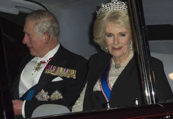 Princess Diana's favourite tiara at White-Tie Palace Party, original Cambridge Lover's Knot Tiara