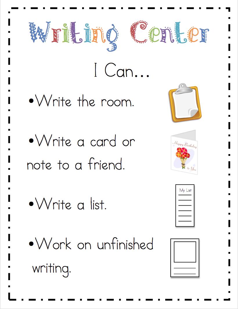 """Preschool Writing Center: Mrs. Ricca's Kindergarten: Literacy Center """"I Can"""" Cards"""