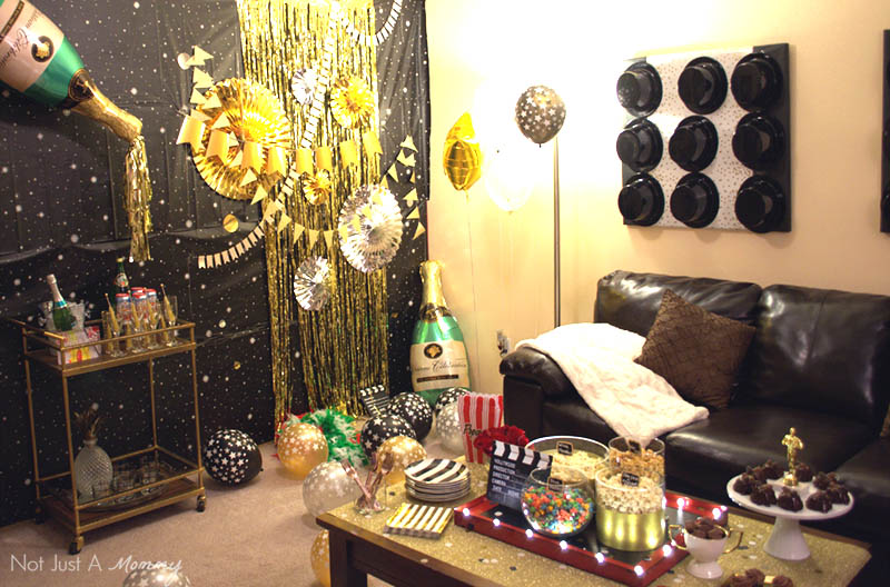 How To Host A Girls' Oscar Night Out Viewing Party; setting the scene with balloons and other props