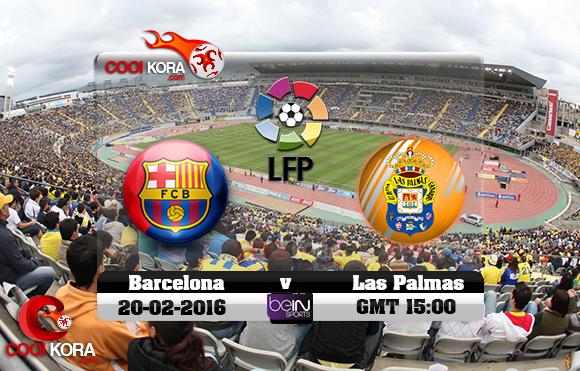 مشاهدة مباراة لاس بالماس وبرشلونة اليوم 20-2-2016 في الدوري الأسباني