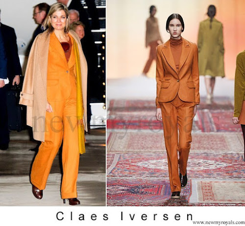 Queen maxima wore CLAES IVERSEN Pan-Suit AW2015