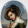 """Girl With Flute"" ~ Porcelain Plaque ~ 1900's."