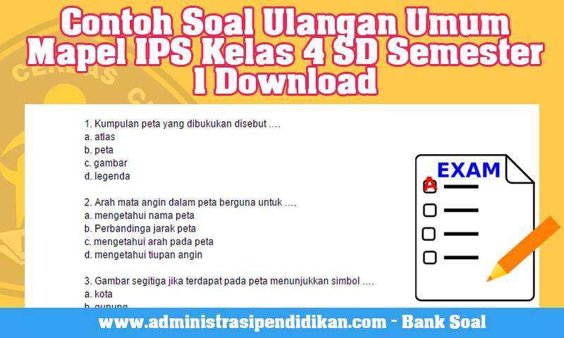 Contoh Soal Ulangan Umum Mapel IPS Kelas 4 SD Semester 1 Download