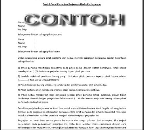 Contoh Surat Perjanjian Kerjasama Usaha Contoh Kata Dp Wa