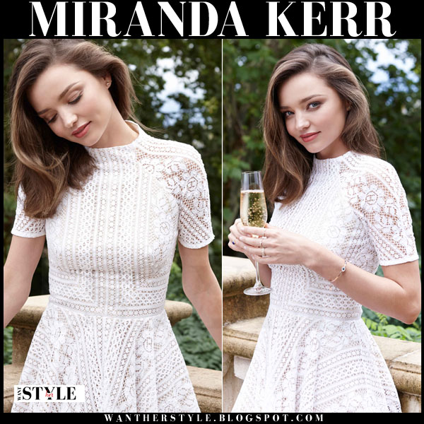 Miranda Kerr in white lace lover mini dress the grace tales editorial what she wore
