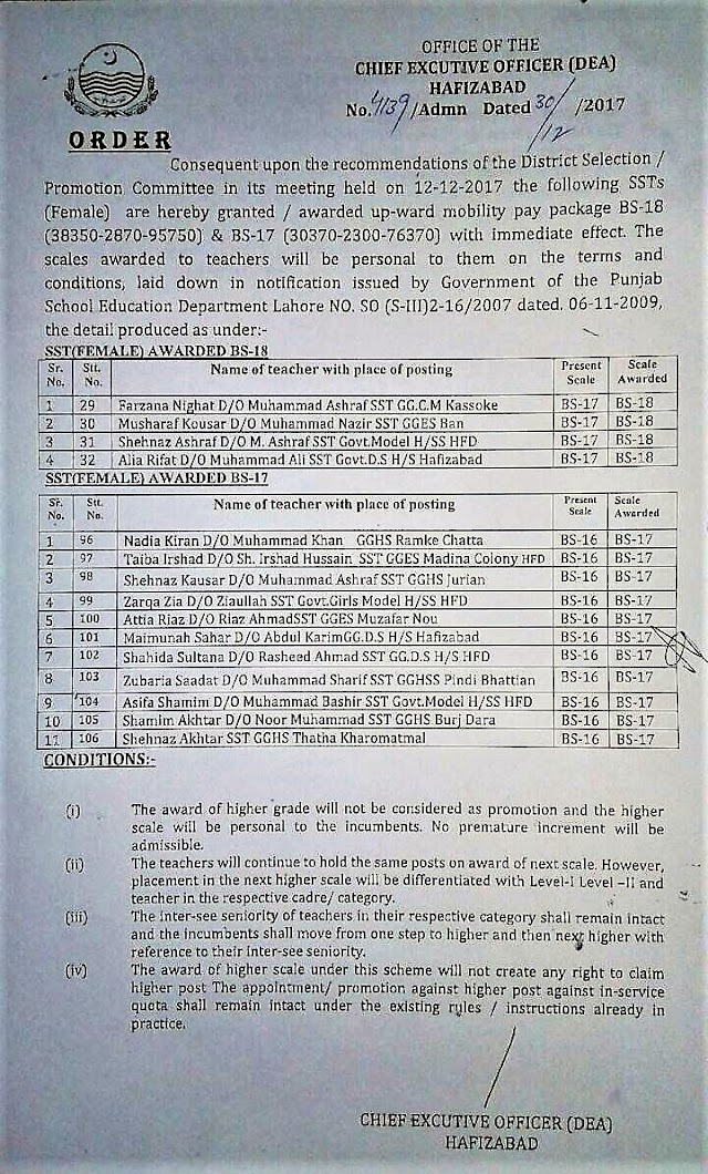 NOTIFICATION BY CEO(DEA), HAFIZABAD REGARDING AWARDING OF NEXT SCALE TO SSTs AFTER APPROVAL OF  DISTRICT SELECTION / PROMOTION COMMITTEE