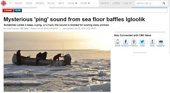 Reportagem CBC sobre barulho do fundo do mar no Ártico
