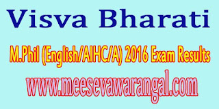 Visva Bharati M.Phil (English/AIHC/A) 2016 Exam Results