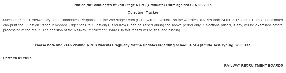 Ckeck RRB NTPC 2nd Stage Answer Key and Objection Tracker