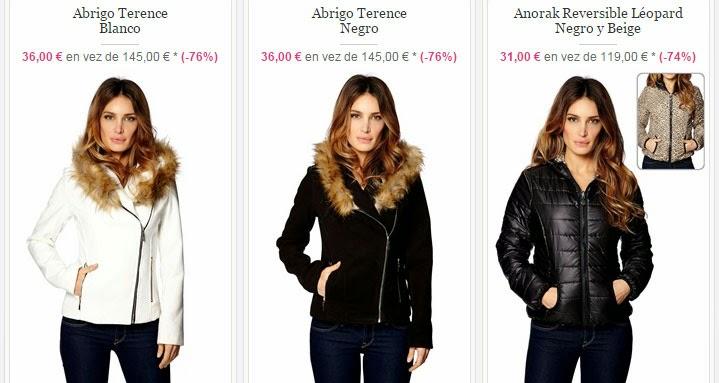 Tres ejemplos de abrigos que podrás comprar en el interior.