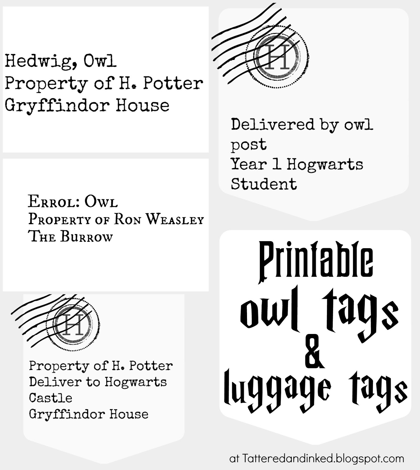 Tattered and Inked: Harry Potter Party FREE Printables and Source ...