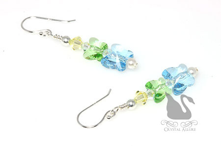 Floating Butterflies Crystal Beaded Earrings (E295)