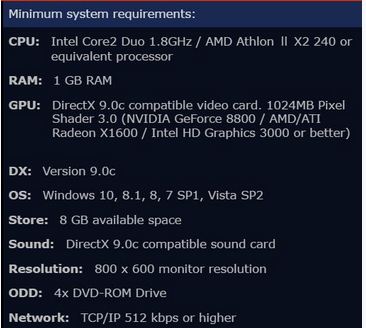 PC minimum requirements for PES 2018