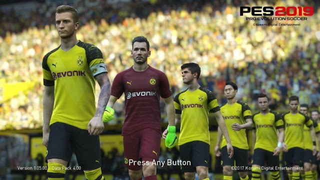 Dortmund 2019 Start Screen PES 2018