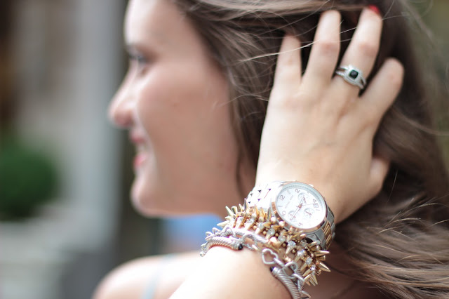 arm party bracelets, bracelet stack, david yurman, michael kors