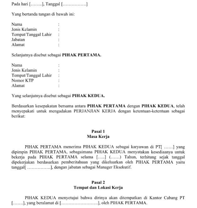 contoh surat perjanjian kerja waktu tertentu dengan 9