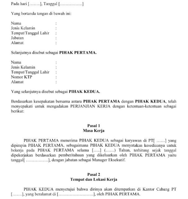 Contoh Surat Perjanjian Kerja Waktu Tertentu Dengan 9 Pasal Didalamnya Format Word