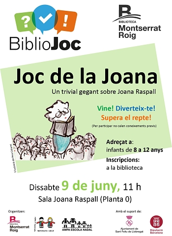 Imatge de l'activitat Joc de la Joana que es fa a la biblioteca Montserrat Roig el 9 de juny a les 11 h