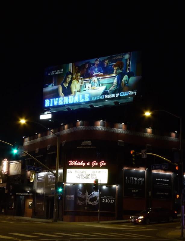 Riverdale Neon sign nighttime billboard Sunset Strip