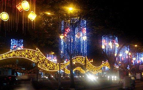 Ornamenti in occasione del Tet Le Loi strada