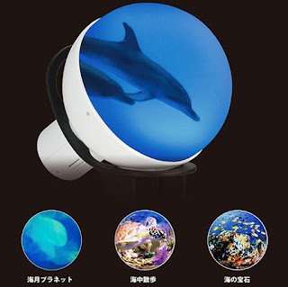 Spherical monitor display for sensory effects. Big screen features a dolphin. Inset pictures show other underwater scenes.