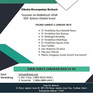 Info Lowongan Kerja Guru SDIT Ajimutu Bekasi