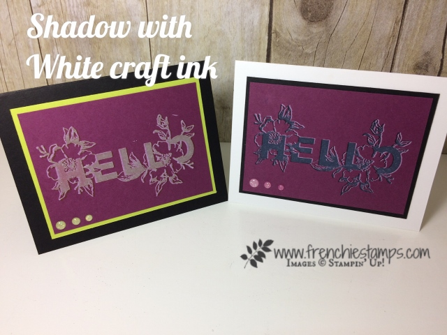 Floral Statements, White Shadow with craft ink, Stampin'Up!, Frenchiestamps