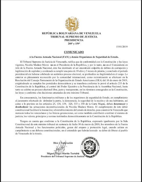 """TSJ en el Exilio: """"Maduro no es ni presidente ni comandante de las FAN"""""""
