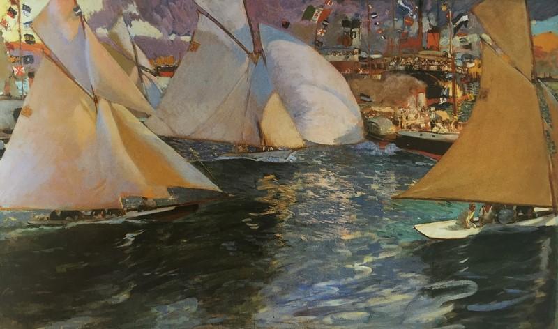 Día de regatas. Joaquín Sorolla, 1908  Exposición 32 obras Museo Nacional La Habana (Foto catálogo - El Blog de La Tabla)