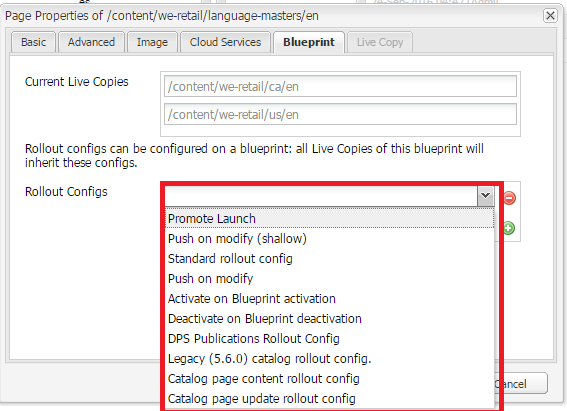 Configure multi site management step 1 go to site landing page properties where blueprint and live copy tabs are a part of dialog language master will have blueprint active tab and live malvernweather Choice Image