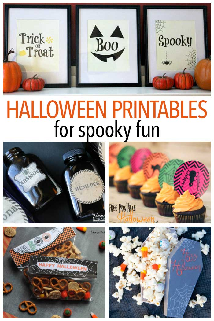 Awesome Halloween printables for your home! Treat bags, treat toppers, printable decorations, party decorations, Halloween printables and more.