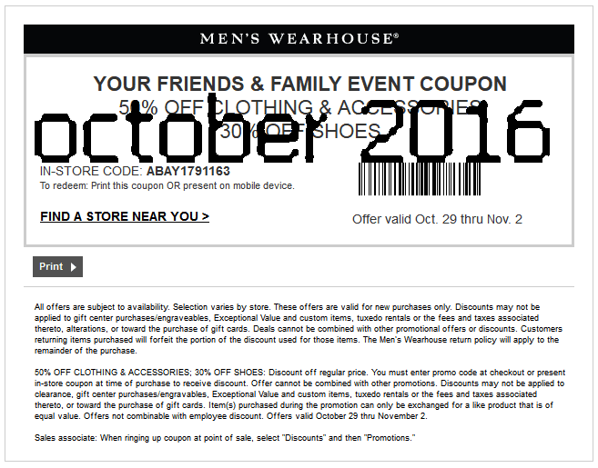 Men's Wearhouse has offered a sitewide coupon (good for all transactions) for 30 of the last 30 days. The best coupon we've seen for terpiderca.ga was in December of and was for $ off. Sitewide coupons for terpiderca.ga are typically good for savings between $10 and $