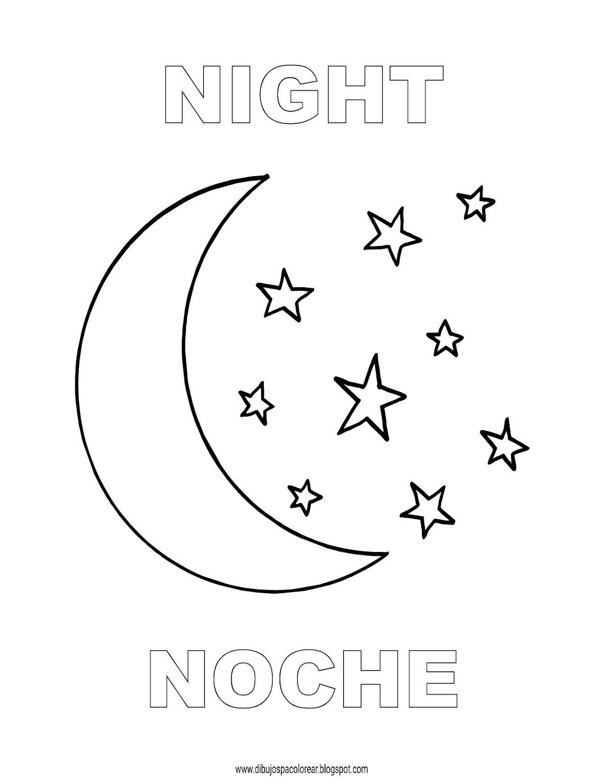 Dibujos Inglés Español Con N Noche Night