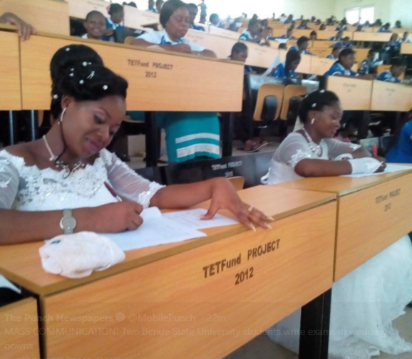 Benue State University Final Year Students Write Exams in Wedding Gowns