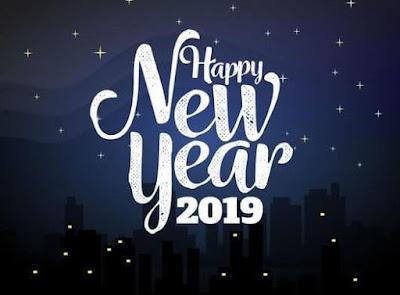 Gambar Selamat Tahun Baru 2019 Biru Happy New Year