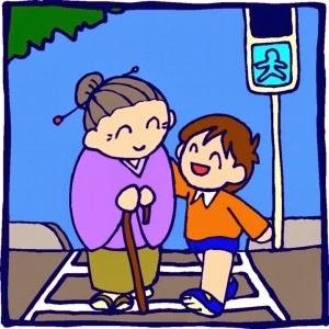 Hijo educado ayudando a abuela