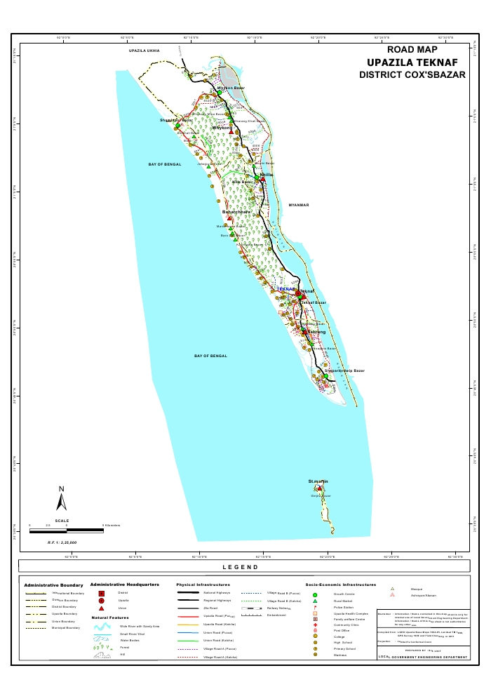 Teknaf Upazila Road Map Cox's Bazar District Bangladesh