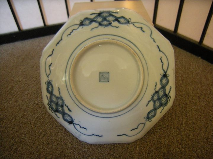 B blue bottom lady marked porcelain white
