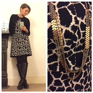 Oliver Bonas dress, Boden cardigan, Stella and Dot necklace