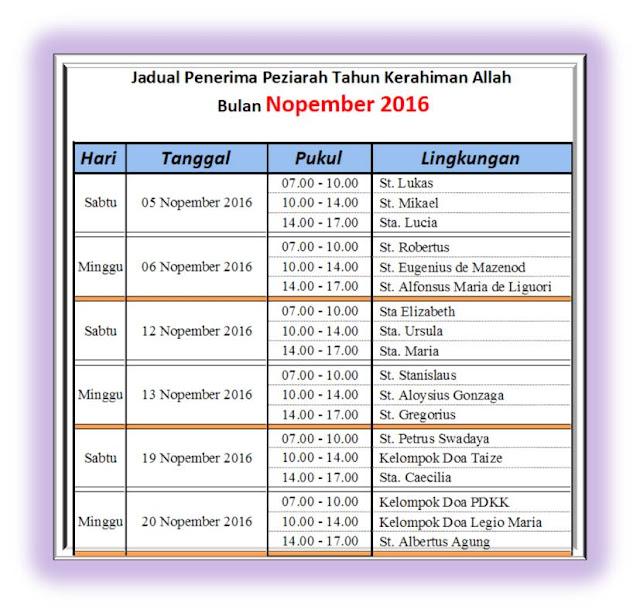 Jadual Penerima Peziarah - November 2016