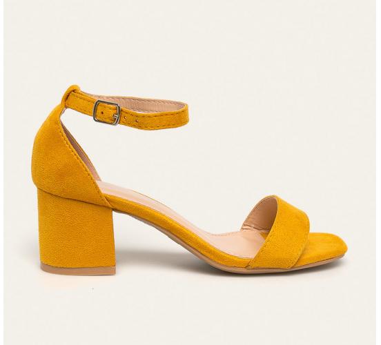 Sandale dama cu toc gros galbene din piele eco intoarsa de la Answear