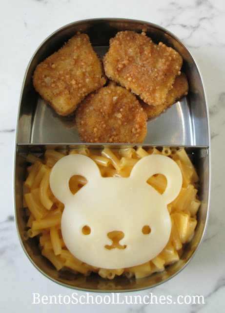 Macaroni and cheese with bear cutout and chicken nuggets sent warm for school lunch