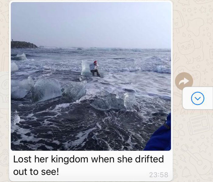 Incredible Grandmother Drifted Off Out To Sea On An Iceberg (Pictures)