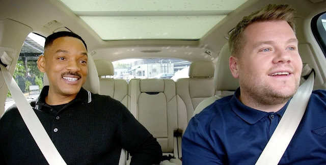 Still from the Carpool Karaoke The Series First Episode with Will Smith and James Corden